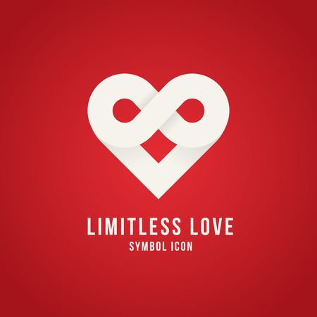 Limitless Love Vector Concept Symbol Icon Logo Template or Valentine Card Vector