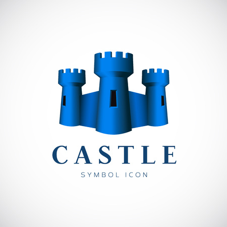Castle Towers Vector Concept Symbol Icon or Logo Template Vector