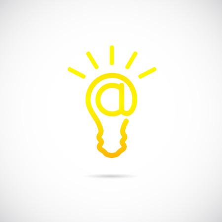 E-mail Sign Light Bulb Concept Symbol Icon  Vector