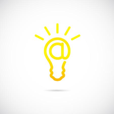E-mail Sign Light Bulb Concept Symbol Icon  Vector