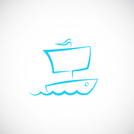 Sailing Boat Hand Drawn Symbol Icon  Vector