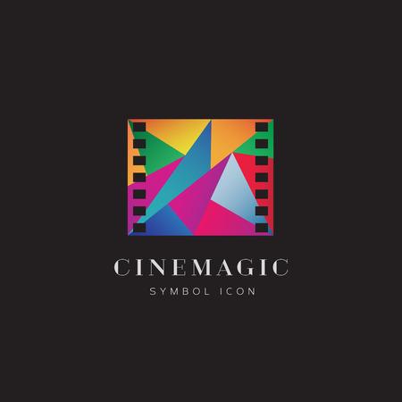 cinta de pelicula: Magia Abstract Vector Concepto de símbolo del icono del cine o plantilla Logo