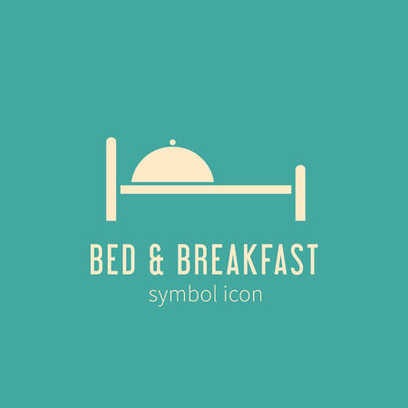 breakfast in bed: Bed and Breakfast Concept Symbol Icon