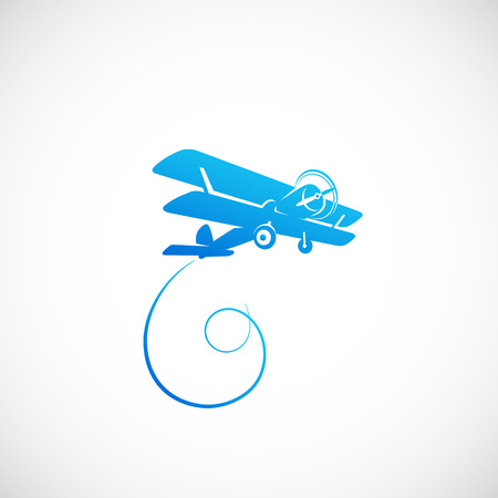 Vintage Plane Vector Symbolo Icon or Logo Template Vector