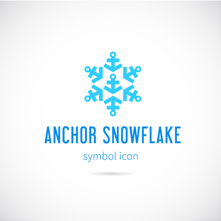 Snowflake From Anchors Vector Concept Symbol Icon Vettoriali