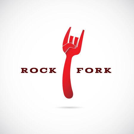 Rock Fork Vector Concept Symbol Icon or Label Vector