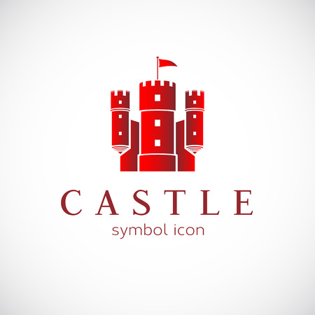 castello medievale: Estratto Castello Vector Icon Vettoriali