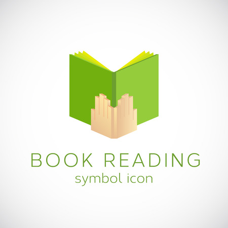 open notebook: Book Reading Vector Concept Symbol Icon or Label Illustration