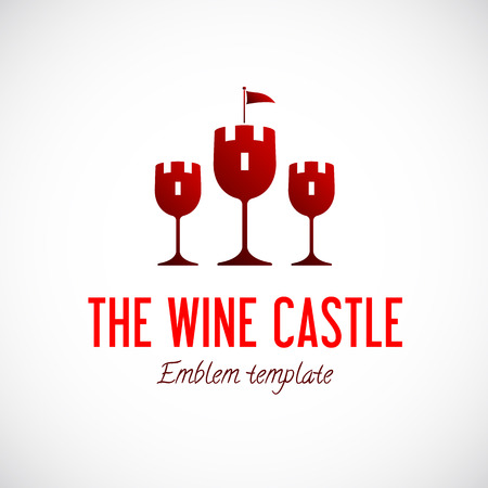 Abstract Wine Glass Castle Vector Concept Symbol Icon