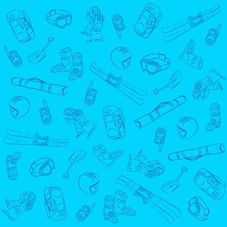 Hand Drawn Ski Seamless Pattern Vector