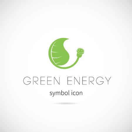 Green Energy Vector Concept Symbol Icon or Label Vector