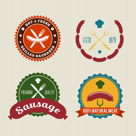 Sausage Badges Vintage Vector Set Vector
