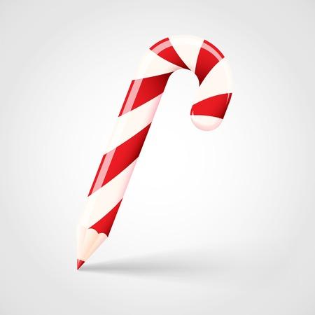 Candy Cane Pencil Abstract Vector Christmas Concept Illustration Vector