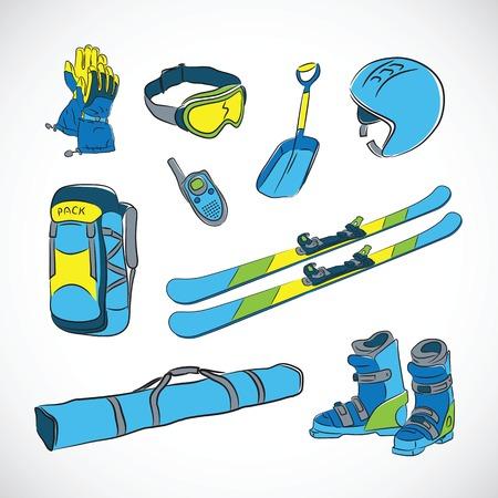Handdrawn Vector Colorfull Ski Icon Set