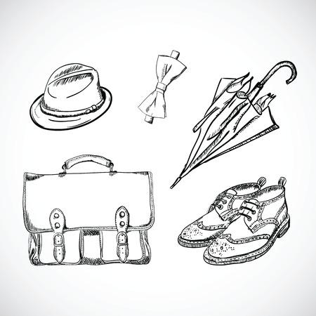 brogues: Gentleman Sketch Handdrawn Vector Set