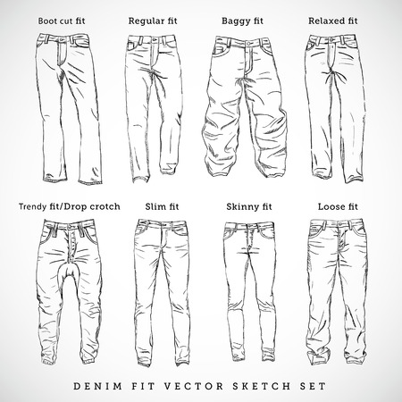 Denim Fit Hand Getrokken Vector Sketch Set Stock Illustratie
