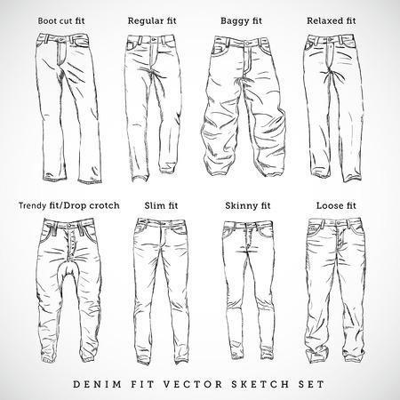 Denim Fit Hand Drawn Vector Sketch Set Illustration
