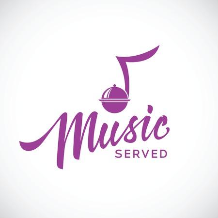 Muziek geserveerd vector concept pictogram met de hand belettering