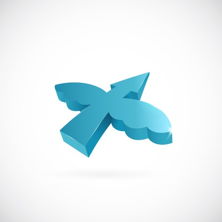 shunt: Flying arrow with wings vector symbol icon