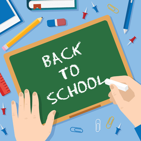 Back to School Flat Style Blackboard Vector Background With Chalk Pins Clips Pen Pencil and Books Vector