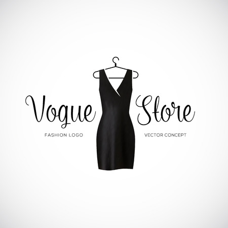 mode: Fashion Vogue Shop Template mit schwarzem Kleid