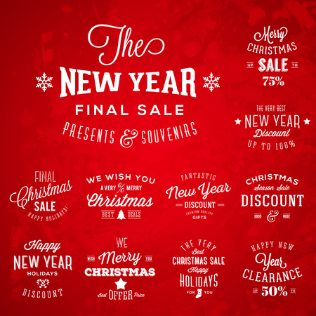 Christmas and New Year Vintage Typography Labels Holidays Sales or Discounts on Red Background Vector