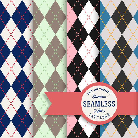 English Rhombus Seamless Pattern Set