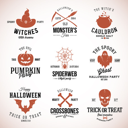 cauldron: Vintage Typography Halloween Badges Logos or Labels