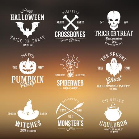 Vintage Typography Halloween Badges or Logos Illustration
