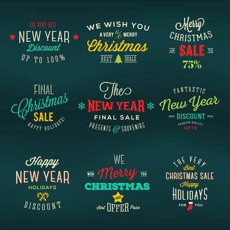 Christmas and New Year Vintage Labels Holiday Sales Discounts Typography Vector