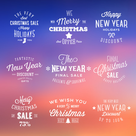 Christmas and New Year Vintage Sales Typography Labels on Abstract Background Vector