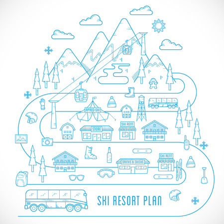 ski resort: Line Style Vector Ski Resort Plan Vacation Illustration Isolated Illustration