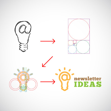 golden ratio: Newsletter Ideas Resumen de plantilla de vectores de la idea a la Implementaci�n con Golden Ratio
