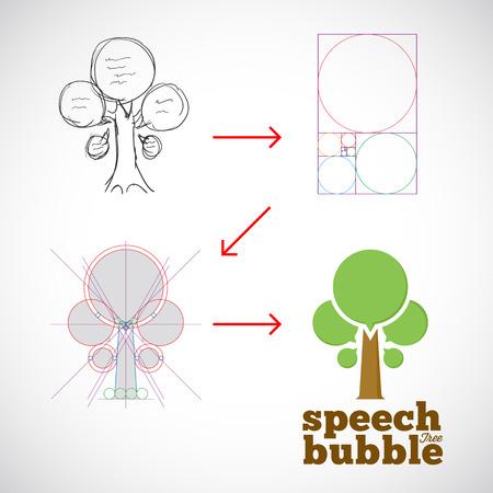 golden ratio: Burbuja del discurso del extracto del �rbol plantilla de vectores de la idea a la Implementaci�n con Golden Ratio