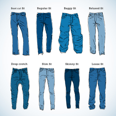 types: Denim Fit Hand Drawn Vector Set