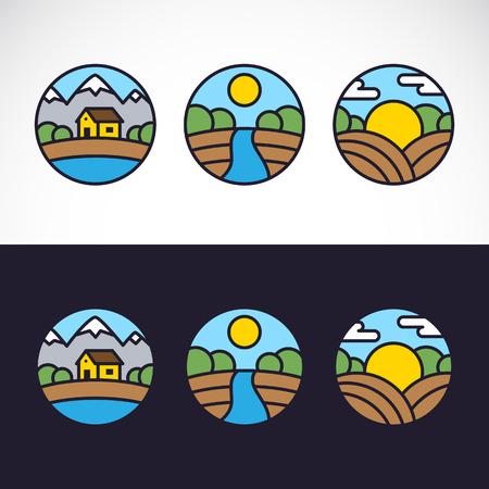 Nature Landscape Logo Template Set Иллюстрация