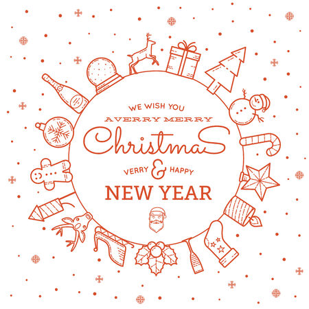 Line Style Christmas and New Year Greeting Banner or Card With Vintage Typography Vector