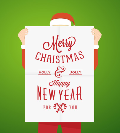 a1: Flat Style Person Wearing Santa Suit Holding A1 Poster With Vintage Typography Christmas Greetings
