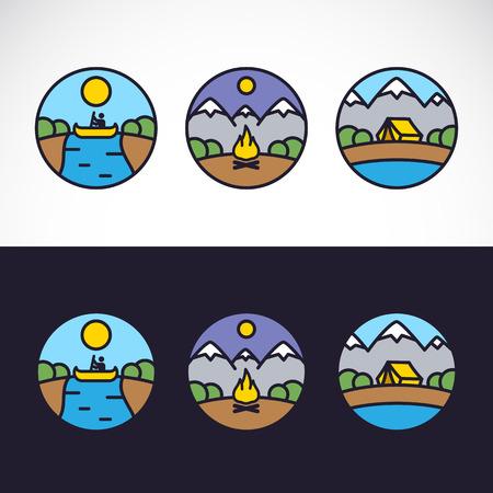 buiten sporten: Outdoor Sport Landschap Natuur Logo Template Set