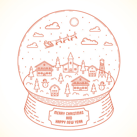 snowball: Line Style Christmas and New Year Vector Snowball Town Illustration With Greetings Illustration