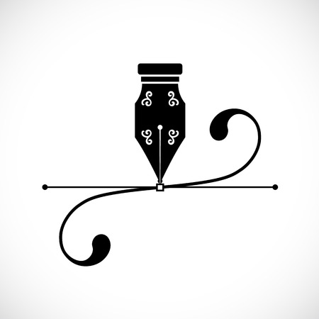 ink pen: Ink Pen Anchor Point With Handles or Bezier Curve Concept Vector Icon Illustration