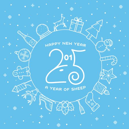 Happy New Year 2015 Creative Greeting Card Design With Sheep Profile Vector