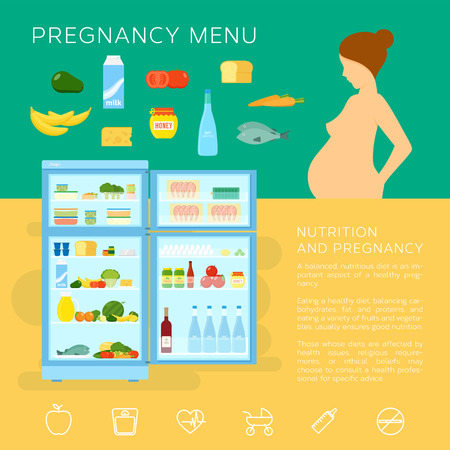 Pregnancy Menu Food Flat Style Vector Infographic Elements or Icons Иллюстрация
