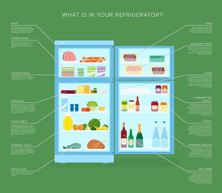refrigerator: Infographic Refrigerator With Food Icons Flat Style Illustration Illustration