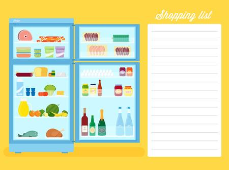 Illustration liste d'achats plat style Réfrigérateur