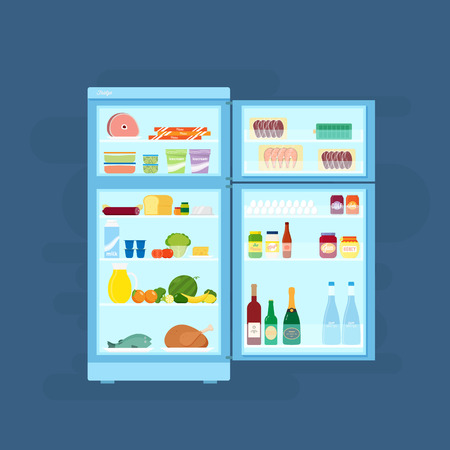 refrigerator with food: Refrigerator With Food Icons Flat Style Illustration Illustration