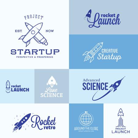 cartoon science: Vector Rocket icon Set