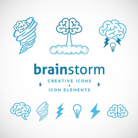 lluvia de ideas: Plantilla Logotipo creativo Brainstorm Resumen