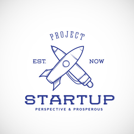 Startup Abstract Vector Logo Template With Pen and Rocket Isolated