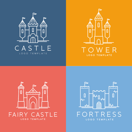 castle tower: Abstract Castle Line Style Vector Logo Template Set